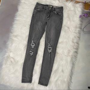 Indigo Rein skinny midrise distressed jeans - sz 3